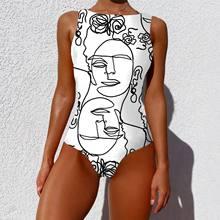 Novo 2021 impressão de uma peça maiô feminino do vintage banho feminino plus size beachwear maiô brasileiro halter nadar