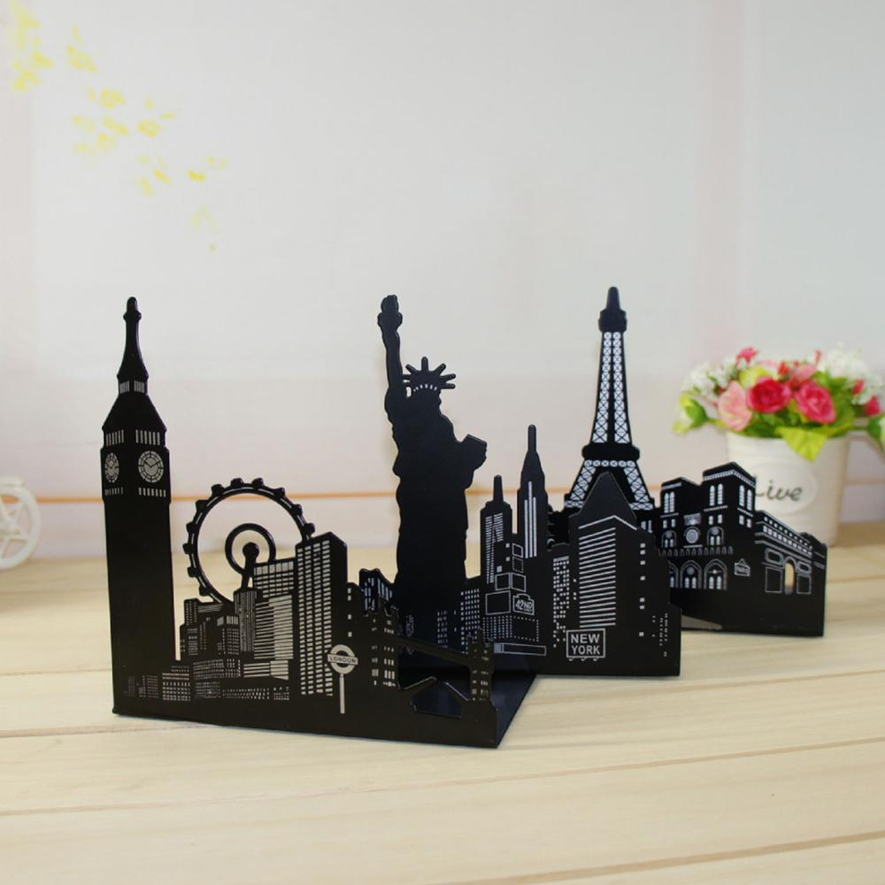 1 Pair Of Famous Scenic Spots Style Metal Iron Desk Art Bookend Non-skid Art Bookends Bookrack Book Ends Shelf Rack Sujetalibros