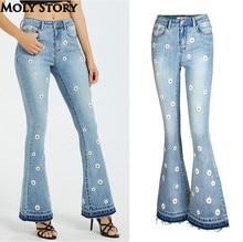 Cute Dasiy Embroidery Flare Jeans Fringe High Waist Jeans Femme Plus Size Wide Leg Denim Pants Women