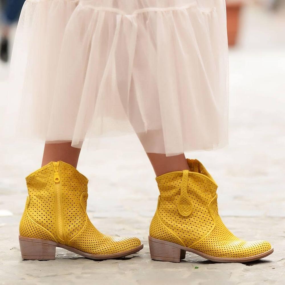 Sail-lakers sail-lakers couro genuíno botas femininas primavera verão tornozelo botas senhoras sapatos casuais zíper retro bloco oco para fora respirável deslizamento no salto baixo