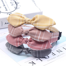 Plaid Rabbit Ears Baby Headbands For Girls Knot Hoop Hairband Bandage Turban Headwrap Cloth Cute Hair Accessories In Daily Life