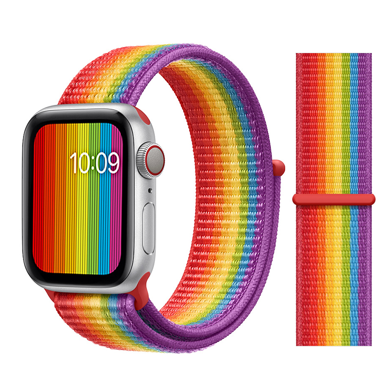 Для наручных часов Apple Watch, версии 3/2/1 38 мм 42 мм нейлон мягкий дышащий нейлон для наручных часов iWatch, сменный ремешок спортивный бесшовный series4/5 40 мм 44 мм - Цвет ремешка: Color41 Pride