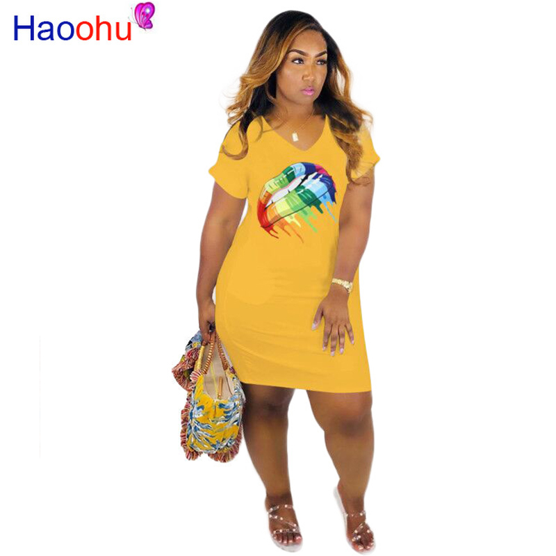 HAOOHU Summder 2019 Plus Size Age Reduction Sexy Style Office 3 Color Round Neck Short Sleeve Thin Untidy Women Mini Dress M6195