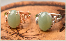 Light green duck egg blue jade ring Medium number s925 silver-encrusted jade ring and Tianyu jade men's and women's jade ring(China)