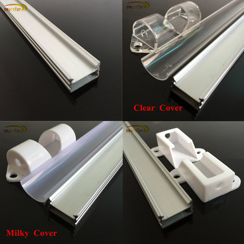 Smarstar 1m U Shaped Aluminum shell milky clear cover end cap for Rigid LED strip Light Flexible LED Light 100m Aluminum tank #2