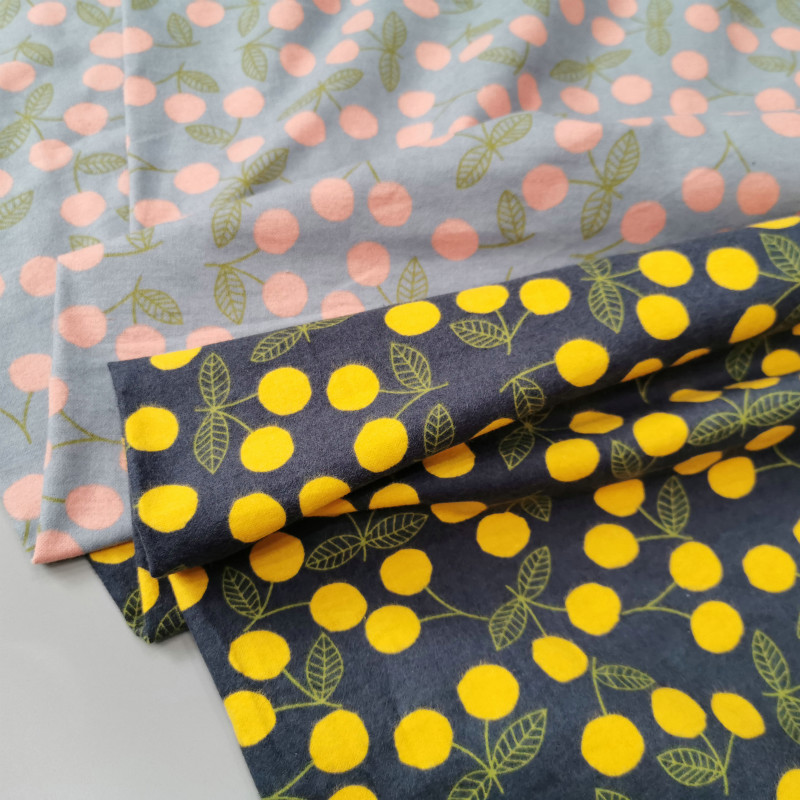 Printed cotton fabric sanding  DIY sewing T-shirts dress by half meter