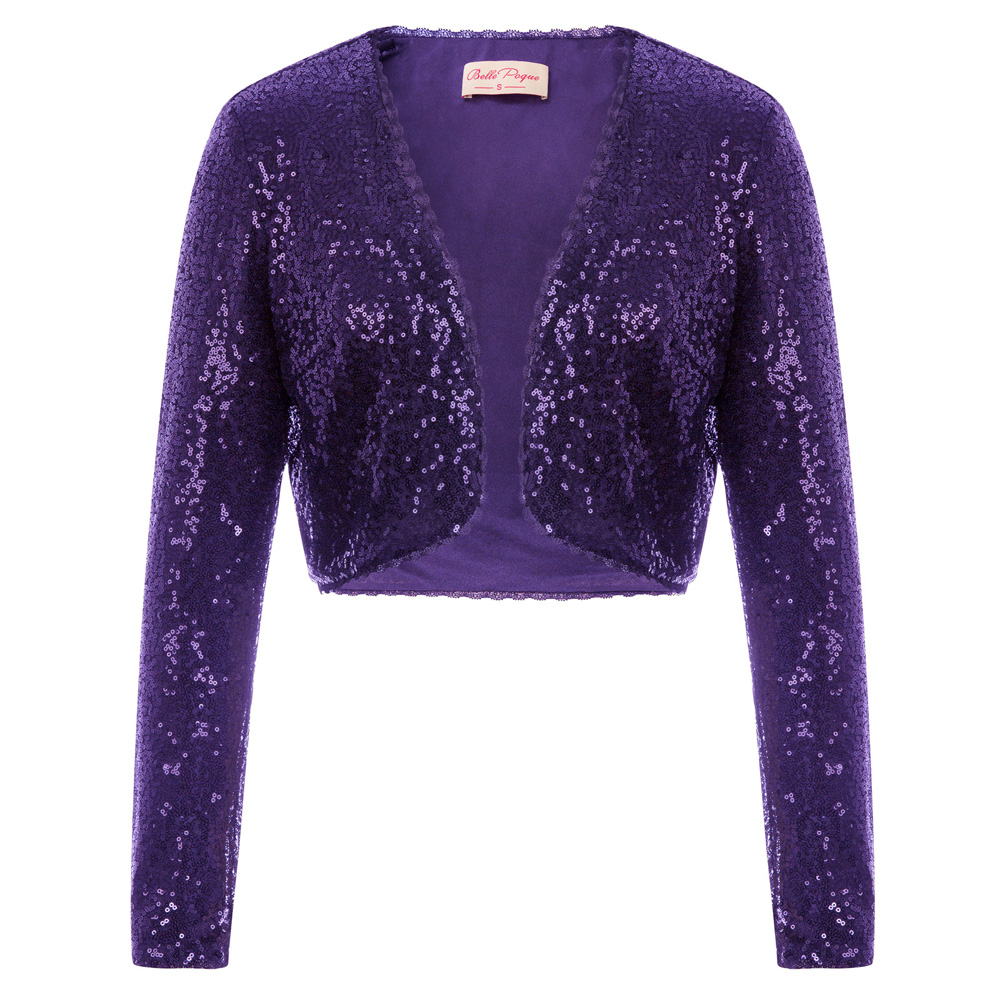 BP Women's Clothing Shining Sequined Tops Long Sleeve Waved Neckline Cropped Length Open Front Bolero Shrug For Wedding Party