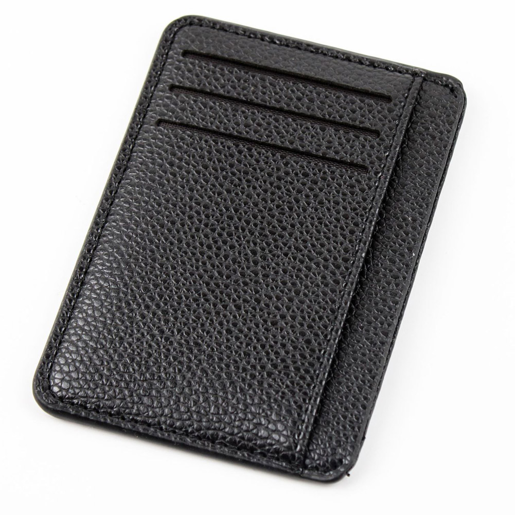 Men Card Holder PU Leather 6 Cards Slot Ultra-thin Lichee Pattern New title=