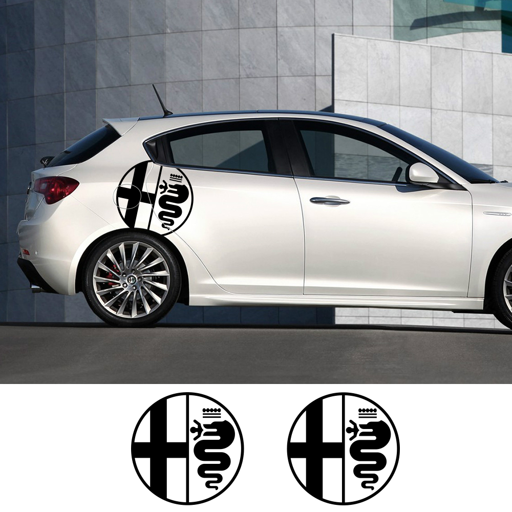 Image 1 - 2Pcs Car Side Door Stickers For Alfa Romeo MiTo Giulia Giulietta 147 156 159 166 Auto Vinyl Film Decals Car Tuning Accessories-in Car Stickers from Automobiles & Motorcycles