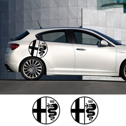 2Pcs Car Side Door Stickers For Alfa Romeo MiTo Giulia Giulietta 147 156 159 166 Auto Vinyl Film Decals Car Tuning Accessories