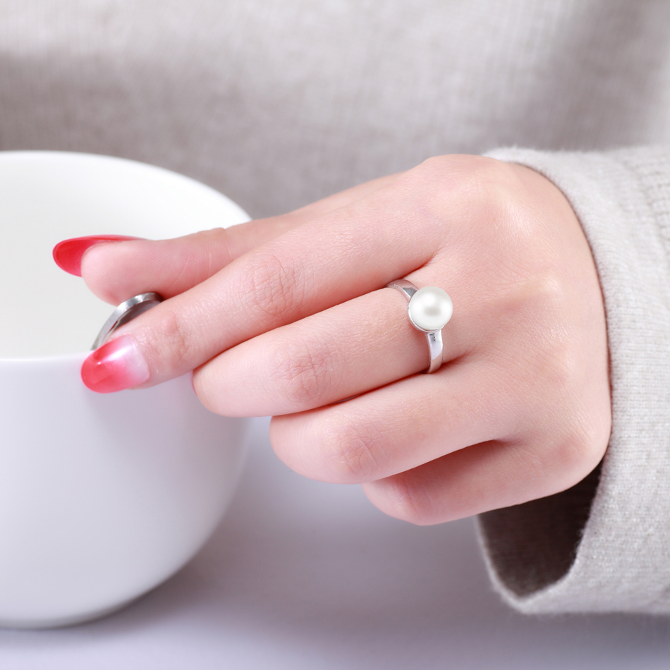 Hot Selling 925 Sterling Silver White Natural Freshwater Pearl Rings for Women Gifts Fashion Accessories Ring FEIGE