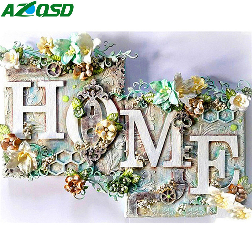 AZQSD Diamond Painting 5d Home Sweet Cross Stitch Rhinestones Diamond Embroidery Landscape Handmade Home Decor Gift Art image