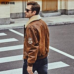 Image 5 - FLAVOR nowa męska prawdziwa skórzana kurtka Bomber ze zdejmowanym futrzanym kołnierzem skórzana kurtka ze świńskiej skóry zimowy ciepły płaszcz męski