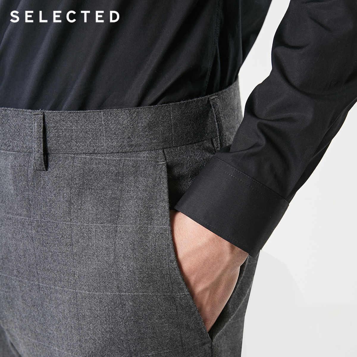 SELECTED 남성 100% 모직 체크 무늬 슬림 피트 정장 바지 T | 41916C504