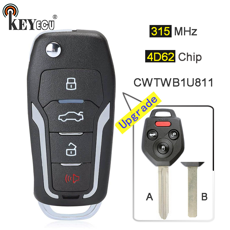 KEYECU 315MHz 4D82 Chip CWTWBU811 Upgraded Flip Folding 3+1 4 Button Remote Key Fob key for Subaru Forester Impreza Legacy WRX|Car Key| |  - title=