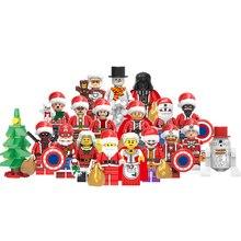 Рождество Хэллоуин фигурки Санта Клаус несколько форм строительные блоки Творческий Фильм Кирпичи игрушки для детей с legoingly