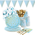 10pcs/lot Birthday Party Gold Dot Diposable Tableware Light Blue Paper Plates Cups Balloon Wedding Baby Shower Party Decor zz02
