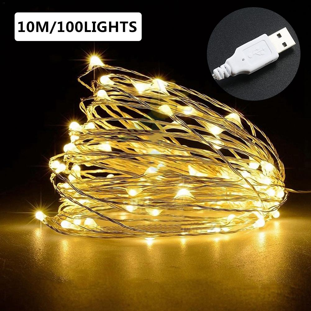 USB 100LED 10m Christmas Decoration Home Parties Decor LED Multi-Purpose Copper String Light Manual USB Connector String Light