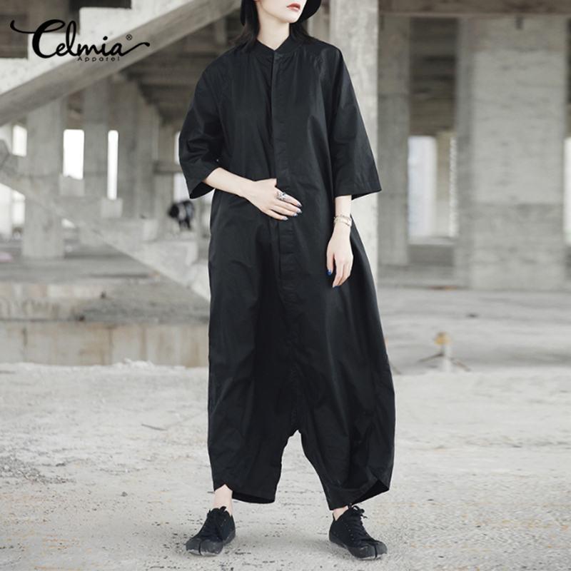 2020 Autumn Women Jumpsuit Celmia Fashion Wide Leg Trousers Drop-Crotch Rompers Long Playsuits Casual Loose Plus Size Overalls 7