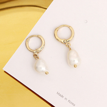 цена Pearl earrings for Women 14KGF Earrings White natural 100% Freshwater pearl jewelry wedding party Girl gift