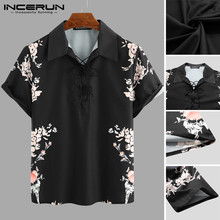 Mens Short Sleeve Shirts Man Floral Print Retro Lapel Shirt Men Casual Lace Up Black Blouse Summer Breathable Tops Plus Size plus lace insert button up blouse