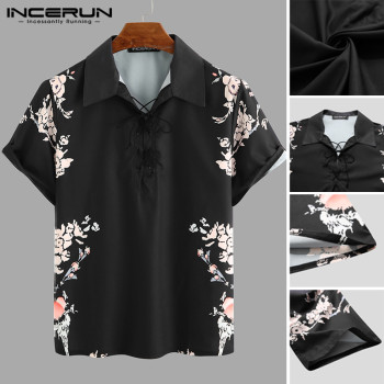 Mens Short Sleeve Shirts Man Floral Print Retro Lapel Shirt Men Casual Lace Up Black Blouse Summer Breathable Tops Plus Size plus lace panel floral blouse