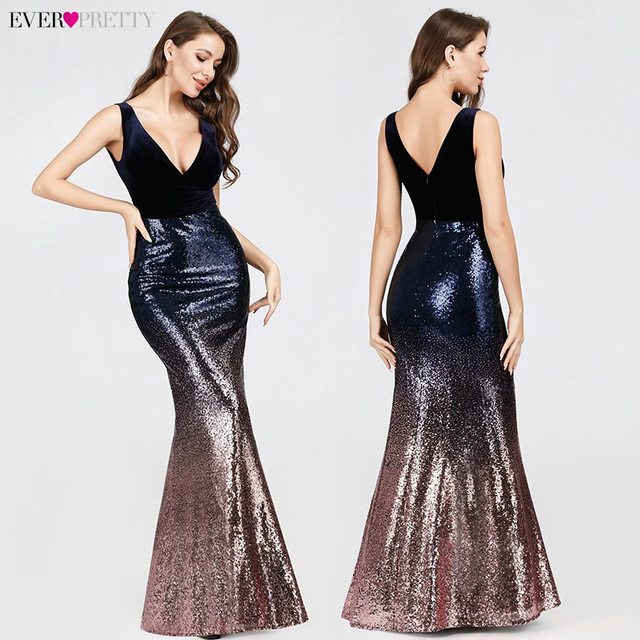 Robe De Soiree Ever Pretty Sexy Sequined Little Mermaid Burgundy Sparkle Party Gowns New Arrival Cheap Long Prom Dresses 2020 4