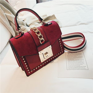 Hand Bags for Women 2020 Luxury Small Crossbody Bag Fashion Chain Rivet Handbags High Quality Pu Leather Ladies Shoulder Bag Red(China)