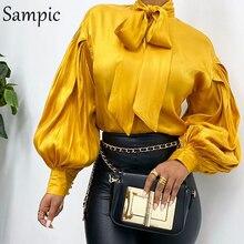 Женская модная повседневная офисная атласная блузка Sampic с высоким воротником, красная винтажная блузка с длинным рукавом, весенние топы