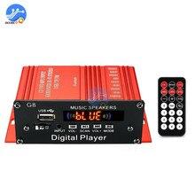 200W 12V araba ses Bluetooth amplifikatör HIFI ev Stereo FM radyo USB AUX TF LED ekran 2CH güç amplifikatörleri uzaktan kumanda ile