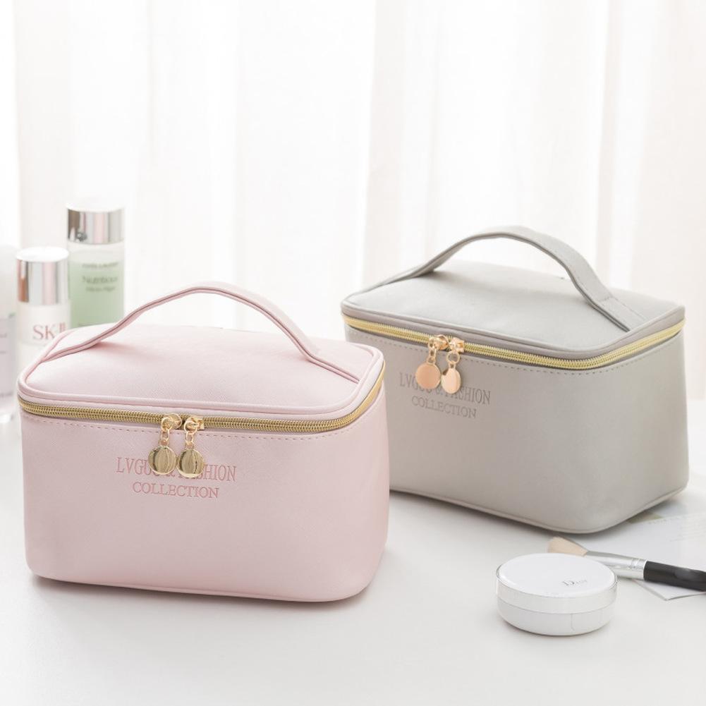 1 Pc  Large Women Cosmetic Bag PU Leather Waterproof  Zipper Make Up Bag Travel Washing Makeup Organizer Beauty Case