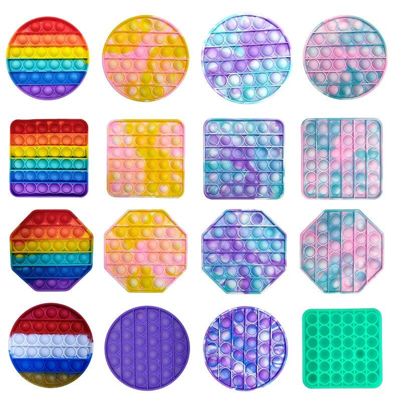 Пуш-ап PopBubble беспокойная игрушка радуга сенсорные снятие стресса игрушка для аутистов потребности мягкими антистресс игрушки дропшиппинг