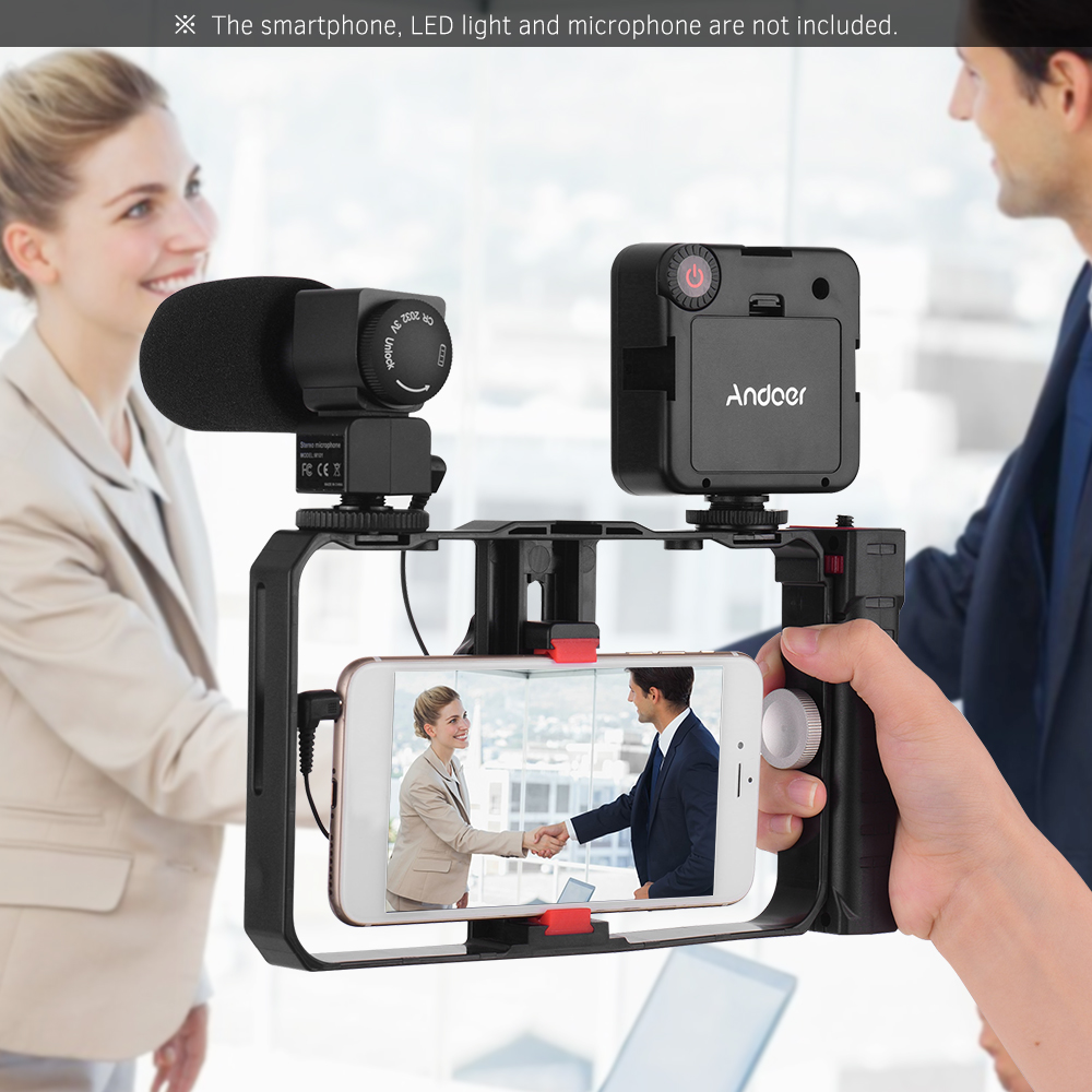 Smartphone Dual Handle Handheld Video Cage Stabilizer Kit Support Recording Grip Rig With Tripod Phone Adjustable Stabilizer