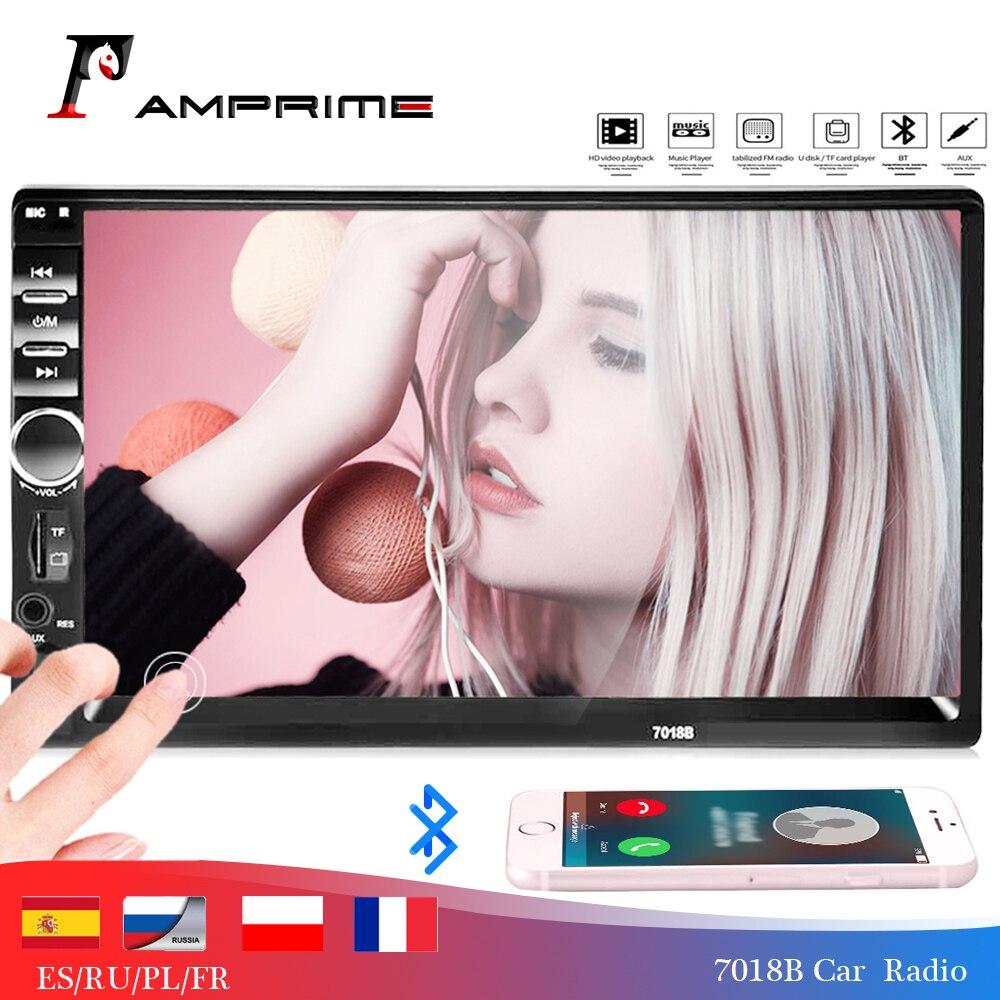 AMPrime 7018B reproductor Multimedia Universal para coche Autoradio 2din estéreo 7 Pantalla táctil FM Video MP5 reproductor Auto Radio copia de seguridad cámara