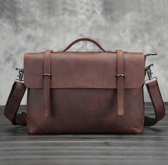 Genuine Leather Classic Briefcase Crazy Horse Cowhide Tote Messenger Bag Men Good Quality Crossbody Shoulder College Bag DF109