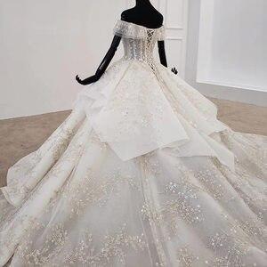 Image 5 - HTL1271 2020 della boemia abito da sposa al largo della spalla manica corta di applique fiore di paillettes donna abito da sposa abito da sposa nuovo