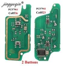 Jingyuqin panneau de clé télécommande 2BT, ASK/FSK, pour voiture citroën C2, C3, C4, C5, Berlingo Picasso 207, Peugeot 208, 307, 308, 408 Partner
