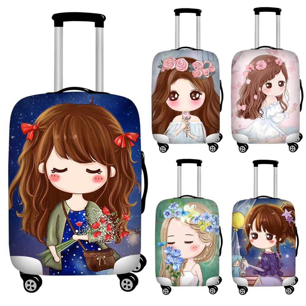 Nopersonality Princess Girl Print Travel Suitcase Covers Elastic Luggage Protective Covers Polyster Dust-proof Bagages Covers
