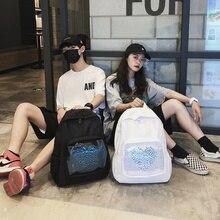 Harajuku Clear Women Backpack For Girls Cute Heart Bookbags Backpacks High Quality Womens Student Travel Tote Back Packs