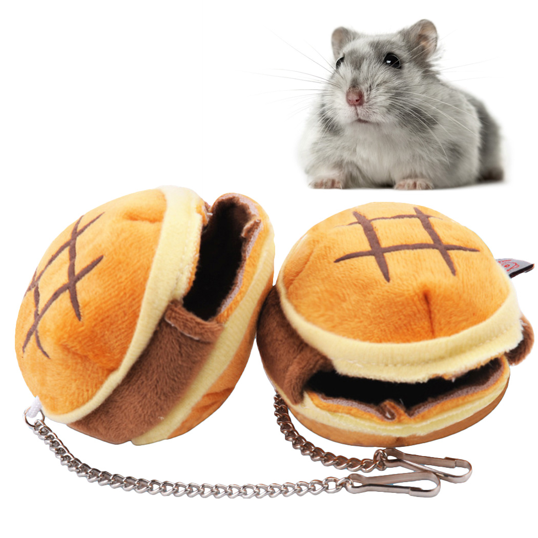 1pc Mini Hamster Cave Winter Warm Hamburger Design Hanging Hamster Bed For Small Animals Small Pet Supplies