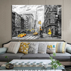 Abstract Painting Landscape Posters Wall Art Canvas Paintings New York Paris City View Pictures for Living Room Decor No Frame