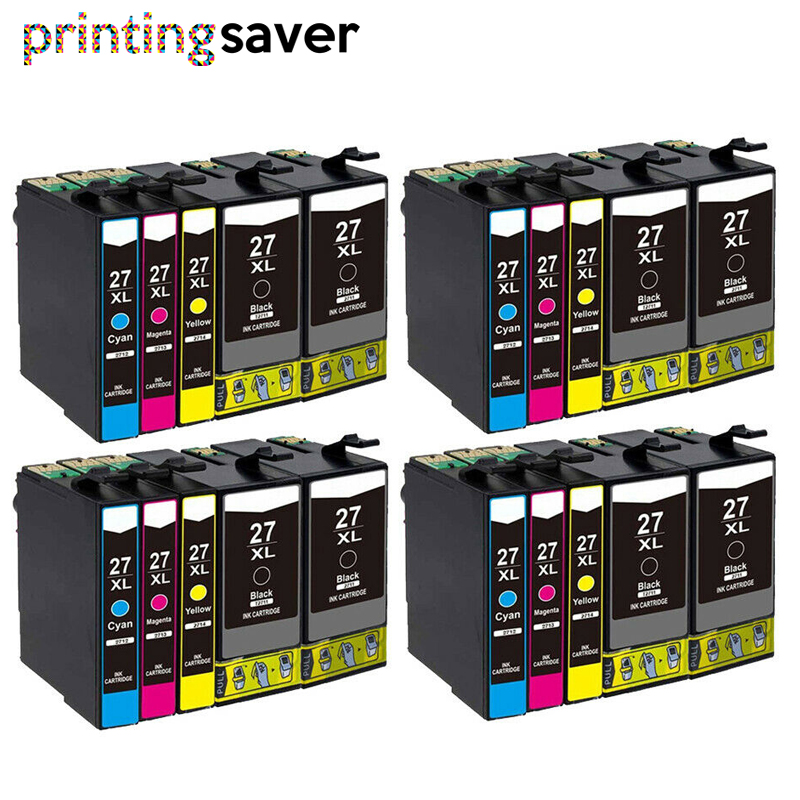 20PCS 2711 2701 High Capacity Compatible Ink Cartridge For Epson WorkForce WF-7110 7610 7620 3620 3620 3640 Printer 27 27XL