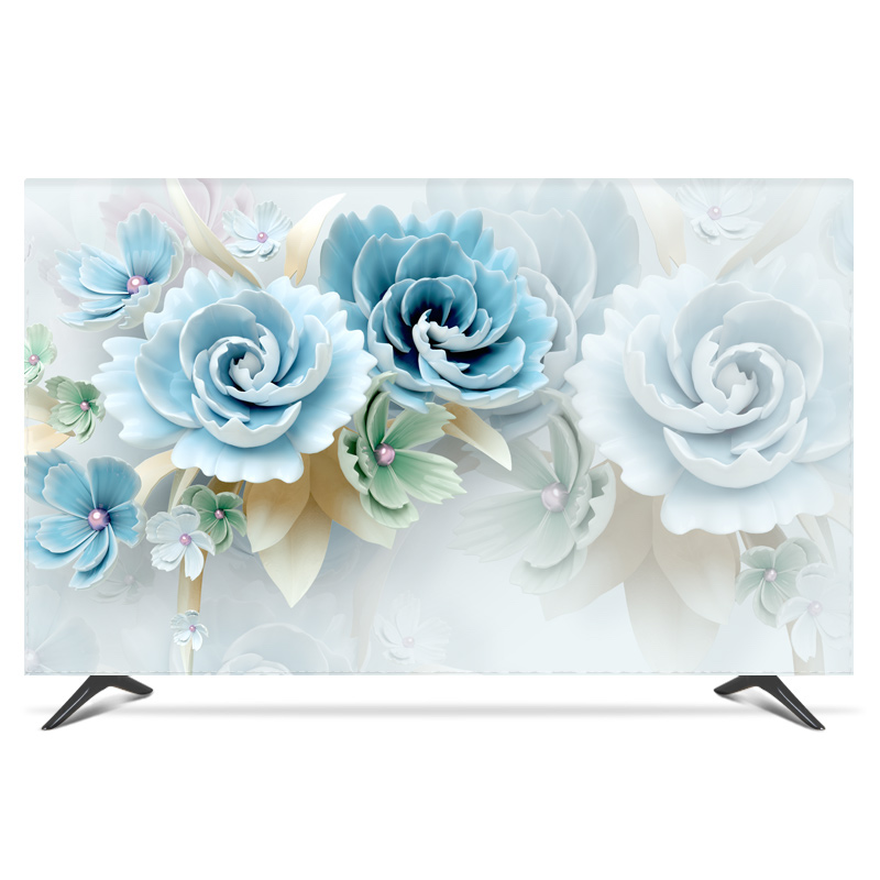 "19""   80"" 22 inch 75 inch Screen LCD TV PC Cover Decorative Hood Curtain Landscape Floral Waterproof White Blue