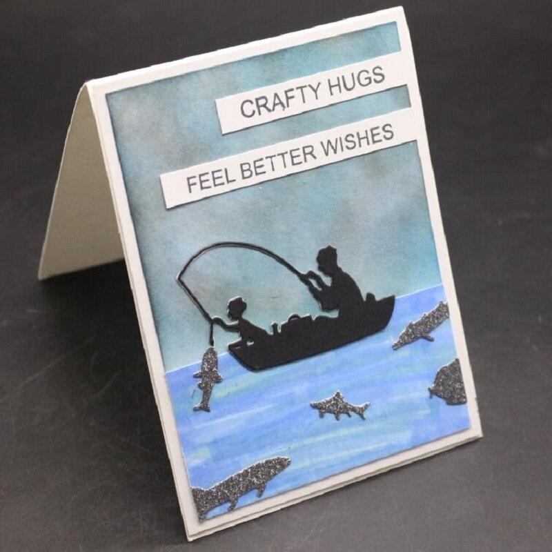 Father Son Fishing Metal Cutting Dies Scrapbook Paper Cards Album Art Craft New