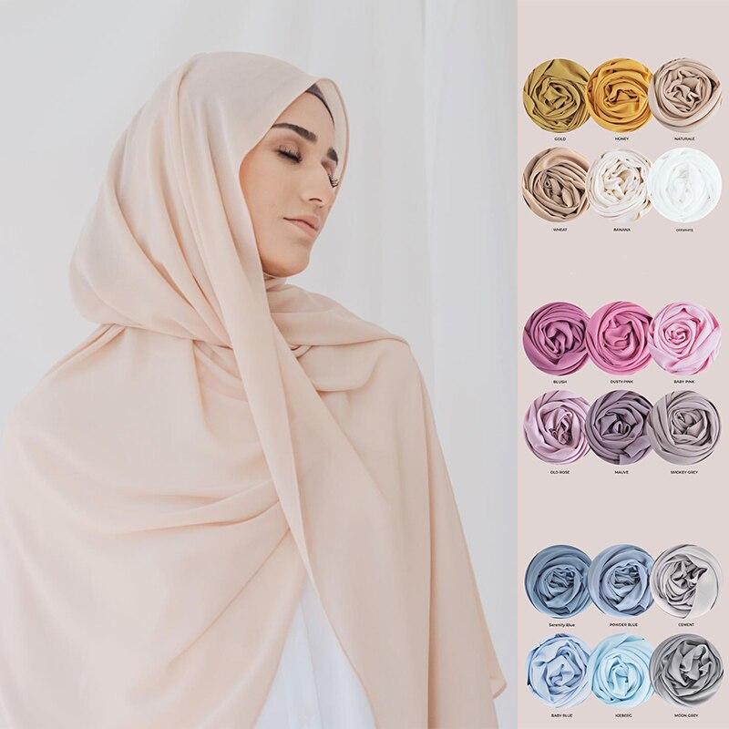 Мусульманский хиджаб, шифоновый шарф, Женский тюрбан, Джерси, хиджабы, шаль, шарфы, мусульманский фуляр, женская шифоновая ткань