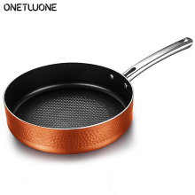 11 Inch Frying Pan with Lid, Hammered Nonstick Copper Frying Pan,Induction Compatible ,For Kitchen Gas stove induction cooker