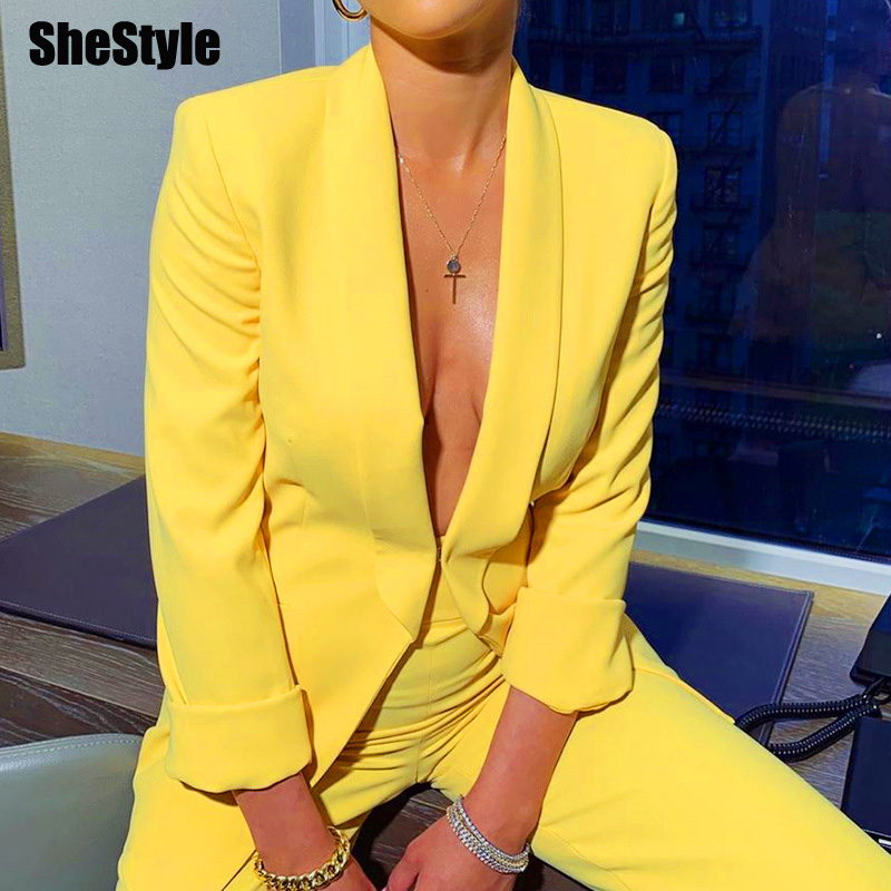 SheStyle Yellow Neon Office Work Suit Set Women Blazer Jacket Flare Pants Sexy Casual Lady 2 Piece Sets 2019 Autumn Winter