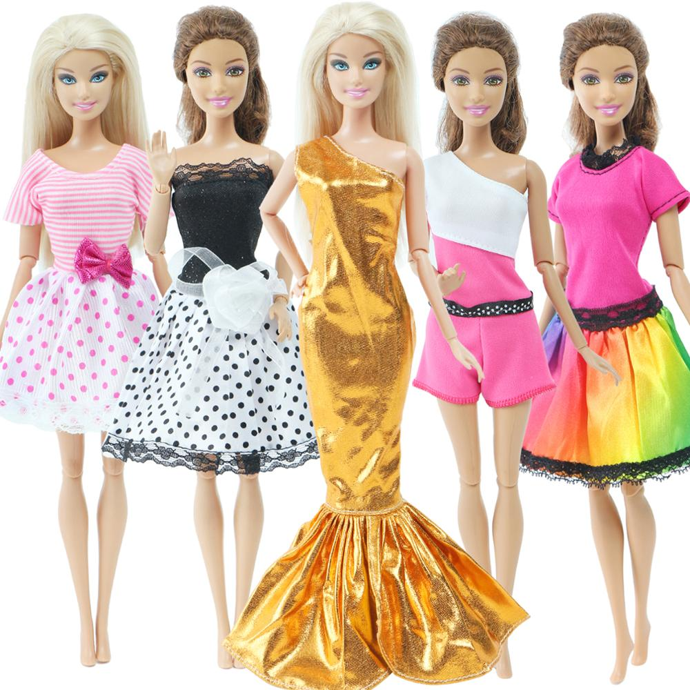 Fashion Design Princess Mix Style Dress Evening Party Gown Colourful Skirt Shirt Pants Accessories Clothes For Barbie Doll Toy