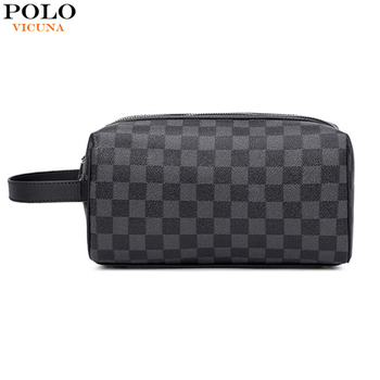 VICUNA POLO Travel Men Clutch Bag Famous Plaid Round Design Mens Toiletry Waterproof Organizer Bags Handbag New