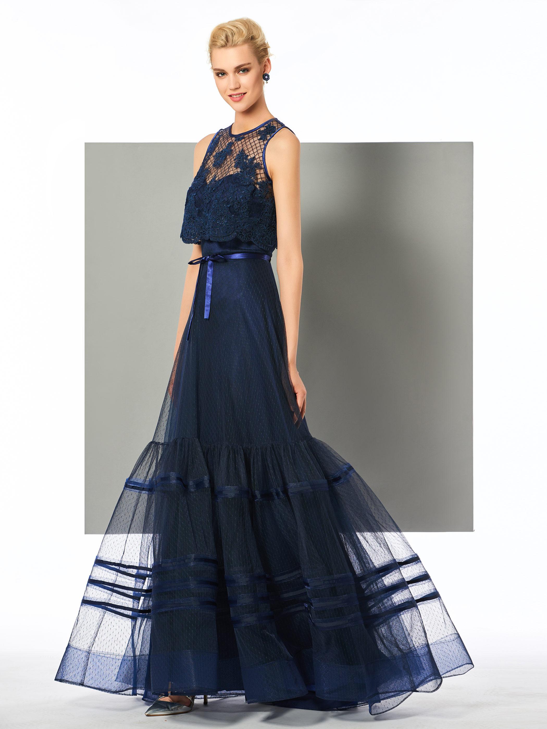 dressv navy blau lange abendkleid scoop neck eine linie ärmel bowknot  hochzeit party formale kleid appliques abendkleider